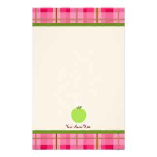 Pink Plaid & Green Apple Personalized Teacher Stationery