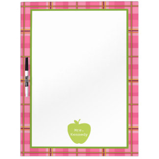 Pink Plaid Green Apple Teacher Dry-Erase Board