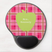 Pink Plaid Green Apple Teacher Gel Mouse Pad