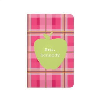 Pink Plaid Green Apple Teacher Journal