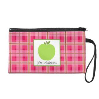 Pink Plaid & Green Apple Wristlet For Teachers