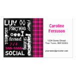 Pink Plaid, Grunge Chalkboard Business Card