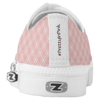 Pink Plaid Hashtag Pretty In Pink Girly Girl Low-Top Sneakers