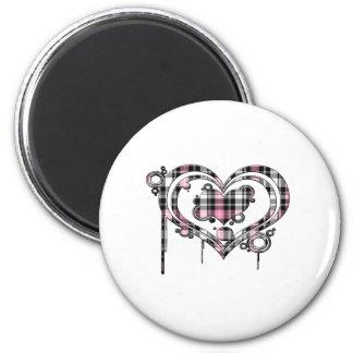 Pink Plaid Heart 2 Inch Round Magnet