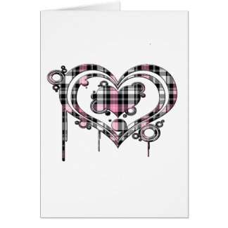 Pink Plaid Heart Card