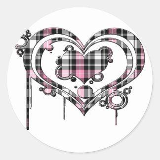 Pink Plaid Heart Classic Round Sticker