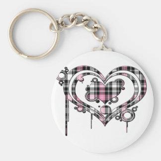 Pink Plaid Heart Keychain