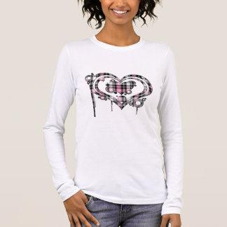 Pink Plaid Heart Long Sleeve T-Shirt