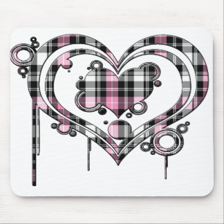 Pink Plaid Heart Mouse Pad