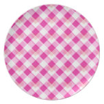Pink Plaid Heart Plate