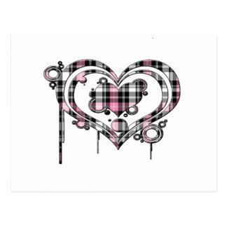 Pink Plaid Heart Postcard