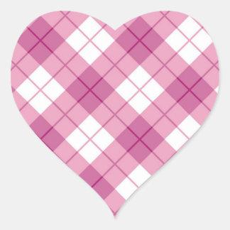 Pink Plaid Heart Sticker