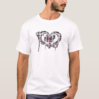 Pink Plaid Heart T-Shirt