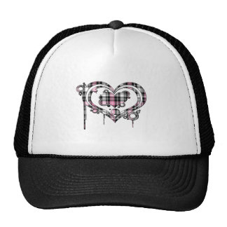 Pink Plaid Heart Trucker Hat