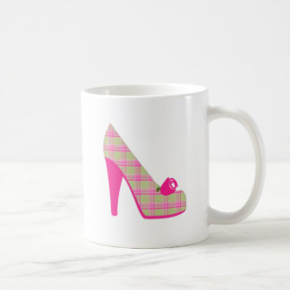 Pink Plaid Heels With Rose Coffee Mug