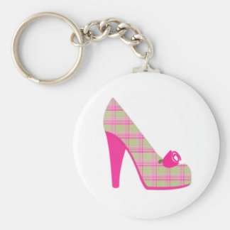 Pink Plaid Heels With Rose Keychain