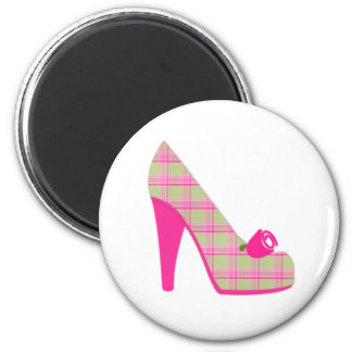 Pink Plaid Heels With Rose Magnet