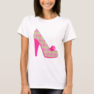 Pink Plaid Heels With Rose T-Shirt