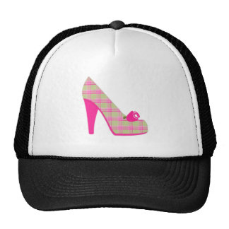 Pink Plaid Heels With Rose Trucker Hat