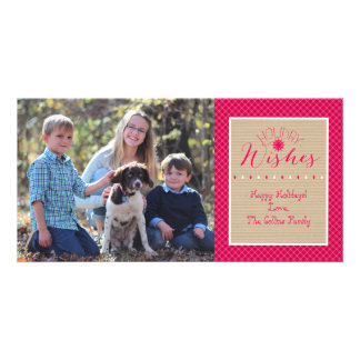 Pink Plaid Holiday Wishes Card