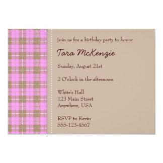 "Pink plaid invitation 5"" x 7"" invitation card"
