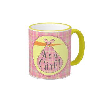 Pink Plaid It's A Girl! Stork Mug