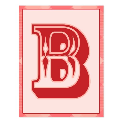 """Pink Plaid Letter """"B"""" Typography Banner Card Postcards"""