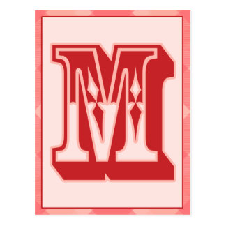 """Pink Plaid Letter """"M"""" Typography Banner Card"""