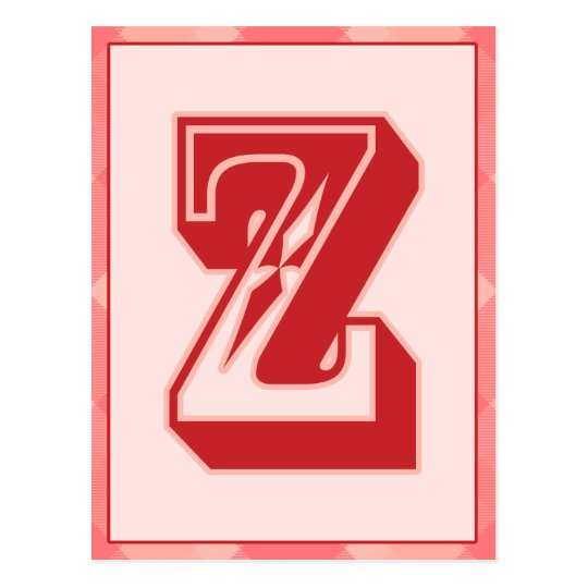 """Pink Plaid Letter """"Z"""" Typography Banner Card"""