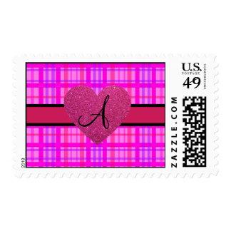 Pink plaid monogram postage
