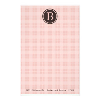 Pink Plaid Monogram Stationary Stationery