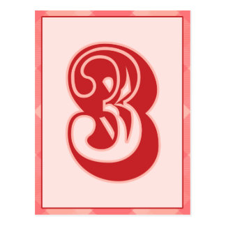 "Pink Plaid Number ""3"" Typography Banner Card"