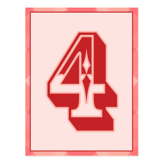 """Pink Plaid Number """"4"""" Typography Banner Card Postcard"""