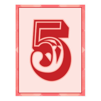 """Pink Plaid Number """"5"""" Typography Banner Card Post Cards"""