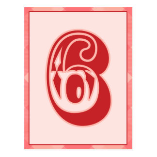 """Pink Plaid Number """"6"""" Typography Banner Card Postcard"""