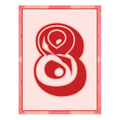 """Pink Plaid Number """"8"""" Typography Banner Card Post Cards"""