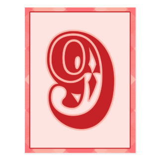 """Pink Plaid Number """"9"""" Typography Banner Card Postcard"""