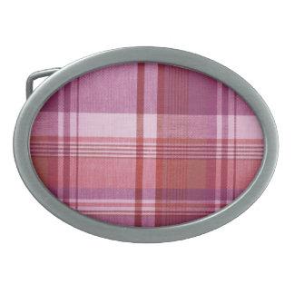 """Pink Plaid"" Oval Belt Buckle"