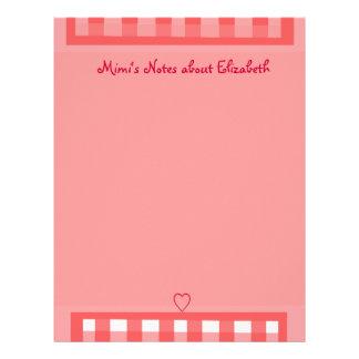 Pink Plaid Paper Letterhead
