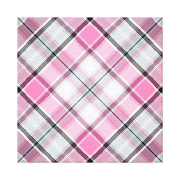 Art Themed Pink Plaid Pattern Chic Canvas Print