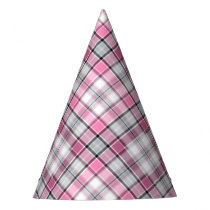Pink Plaid Pattern Chic Party Hat