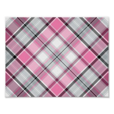 Art Themed Pink Plaid Pattern Chic Poster