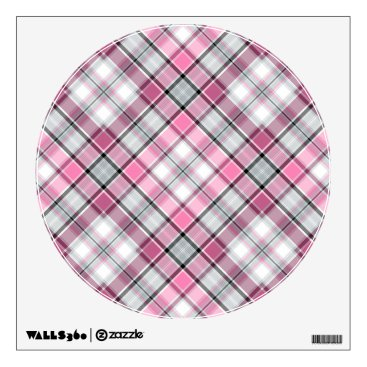 Art Themed Pink Plaid Pattern Chic Wall Decal
