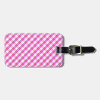 Pink Plaid Pattern custom luggage tag