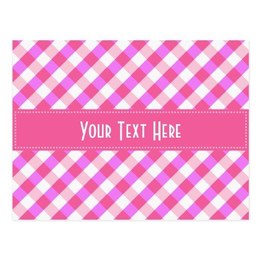 Pink Plaid Pattern custom postcard