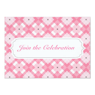 Pink Plaid Pattern Invitation Card Any Occasion