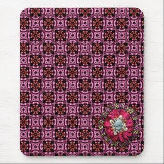 Pink Plaid Pattern Mouse Pad