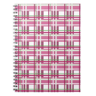 Pink plaid pattern notebook