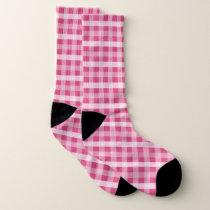 Pink Plaid Patterned Socks