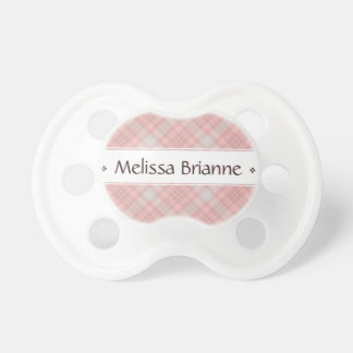 Pink Plaid Personalized Baby's Name Pacifier